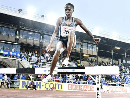 Bahrain's Jebet taking part in the 3,000m steeplechase at Stockholm Diamond League in June.